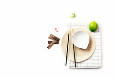 Asian food ingredients. On white background with copy space Stock Photos
