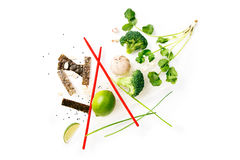 Asian food ingredients. On white background with copy space Royalty Free Stock Photo