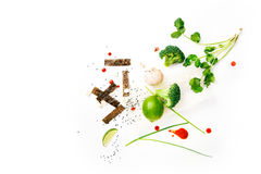 Asian food ingredients. On white background with copy space Royalty Free Stock Images