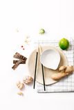Asian food ingredients. On white background with copy space Stock Images