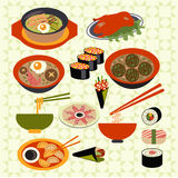 Asian food Japanese dishes - Illustration Royalty Free Stock Photography