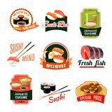 Asian Food Labels. Asian food sushi bar japanese cuisine fresh fish labels set isolated vector illustration Stock Photography