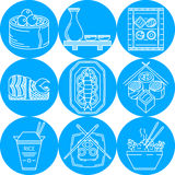 Asian food line icons Royalty Free Stock Image