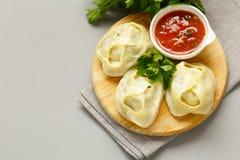 Asian food, manti dim sum stock photography