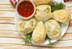 Asian food, manti dim sum. Stuffed with meat and vegetables Royalty Free Stock Images