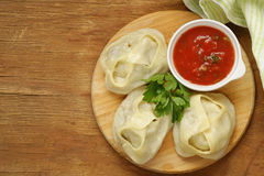 Asian food, manti dim sum stuffed with meat Royalty Free Stock Photo