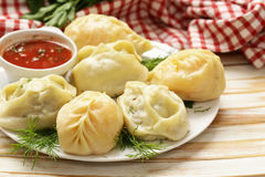 Asian food, manti dim sum stuffed with meat Stock Photo