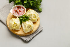 Asian food, manti dim sum stuffed with meat Stock Photography