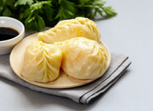 Asian food, manti dim sum stuffed with meat Stock Image