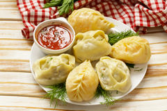 Asian food, manti dim sum stuffed with meat Royalty Free Stock Images