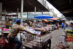 Asian food market. Early morning at a food market in the city of Buriram, Thailand Stock Photo