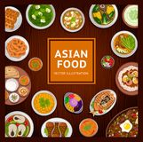 Asian food. National dishes on a wooden background. vector illustration