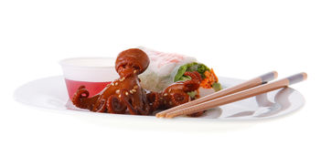 Asian food on a plate Royalty Free Stock Image