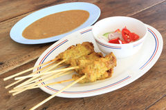 Asian food - Pork Satay with Peanut Sauce. Grilled pork satay with peanut sauce and vinegar, thailand Stock Photo