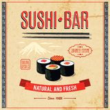Asian Food Poster. Asian food sushi bar natural and fresh japanese cuisine poster vector illustration Royalty Free Stock Images