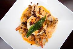 Asian food with prawn, couscous, mussels, bear leek, chorizo Royalty Free Stock Image