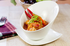 Asian food prawn curry. Typical Asian food , prawn with spicy curry Royalty Free Stock Images