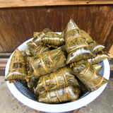 Asian food - rice dumpling. Also called zongzi in China.It was a very popular food in china stock photos