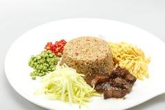Asian food. Rice Seasoned With Shrimp Paste Khaao Khlook Gabpi  on isolated  white background, Stock Photo