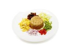 Asian food. Rice Seasoned With Shrimp Paste Khaao Khlook Gabpi  on isolated  white background, Stock Image