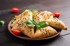 Free Asian Food. Samsa Samosa With Chicken Fillet And Green Herbs Stock Photography - 151760702