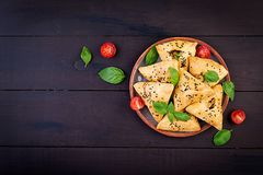 Free Asian Food. Samsa Samosa With Chicken Fillet And Green Herbs Royalty Free Stock Photography - 151760717