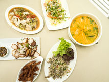 Asian food served on the table, top view, Thai food. Stock Photos