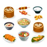Asian Food Set. Asian food decorative icons set with fortune cookies isolated vector illustration Stock Images