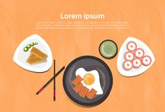 Asian Food Set Korean Thai Dishes Top Angle View Template Background stock illustration