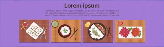 Asian Food Set Sushi Korean Thai Dishes Top Angle View Template Background Horizontal Banner stock illustration