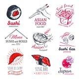 Asian Food Sketch Badges Set Stock Photography
