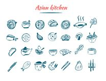 Asian food sketch icon set. Chinese and Thai restaurant food. Oriental design isolated on white background with shrimp Royalty Free Stock Photography