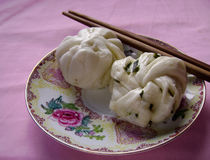 Asian food - Guangzhou Dim Sum bun and twisted roll Royalty Free Stock Photos