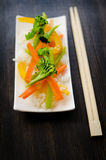 Asian food style. Tasty Asian food served on ceramic plate royalty free stock photos