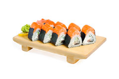 Free Asian Food Sushi On Wooden Plate Royalty Free Stock Images - 23042969