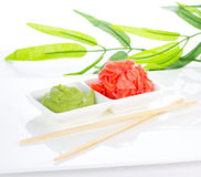 Asian food. Sushi.Wasabi and ginger. Royalty Free Stock Photo