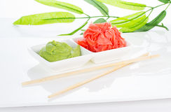 Asian food. Sushi.Wasabi and ginger. Royalty Free Stock Images