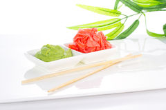 Asian food. Sushi.Wasabi and ginger. Stock Images
