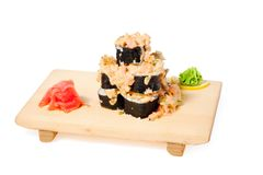Asian food sushi on wooden plate Stock Photos