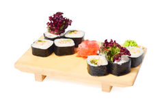 Asian food sushi on wooden plate Royalty Free Stock Photo