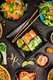 Asian food table with various kind of chinese food Stock Photo
