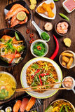 Asian food table with various kind of chinese food Stock Images