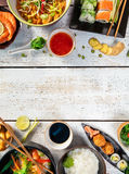 Asian food table with various kind of chinese food Royalty Free Stock Photos