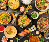 Asian food table with various kind of chinese food Stock Image