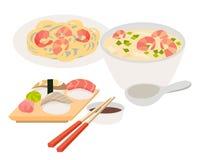 Asian food vector. Japanese food illustrations. Chinese, thai food flat, cartoon style. Web banner isolated on white background. Tom Yam soup, sashimi Stock Photo