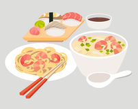 Asian food vector. Japanese food illustrations. Chinese, thai food flat Stock Photo