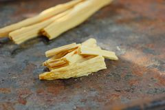 Asian food: yuba or fuju sticks - vegetarian stuff. Asian food: yuba or fuju sticks - vegetarian stuff Royalty Free Stock Photos