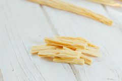 Asian food: yuba or fuju sticks - vegetarian stuff. Asian food: yuba or fuju sticks - vegetarian stuff Stock Image