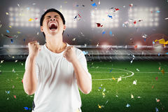 Asian football fan celebrate Royalty Free Stock Image