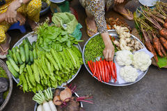 Asian fresh fruit and vegetable market Royalty Free Stock Photo